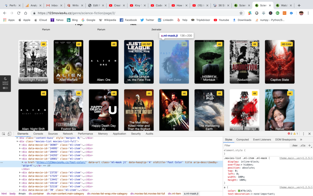 inspecting a movie element on home page for web scraping